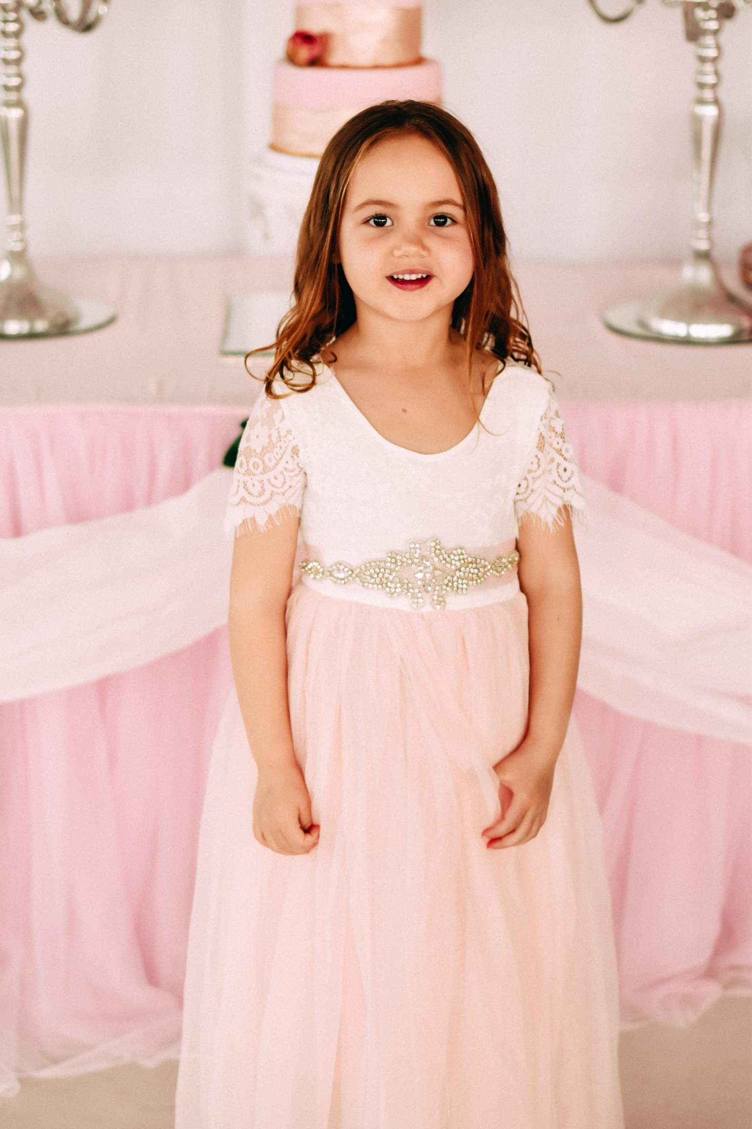 0ed6474b430351 Dainty Garden Party Sparkle Dress {Short or Long Sleeve - Pink ...